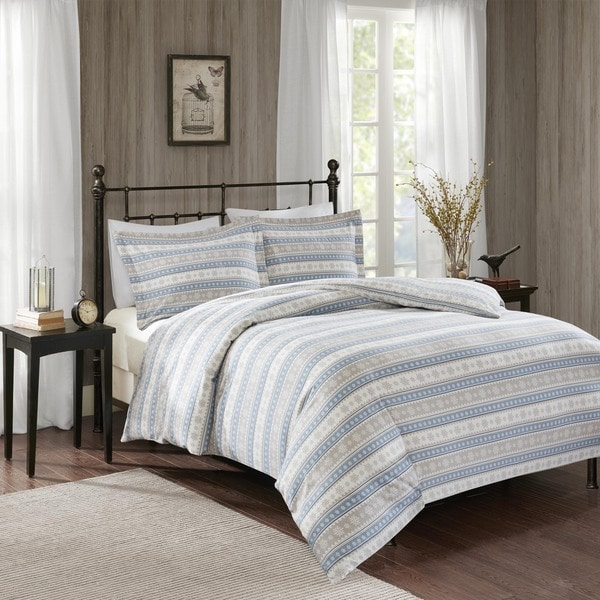 Woolrich Nordic Snowflake Blue Cotton Flannel Comforter Mini Set