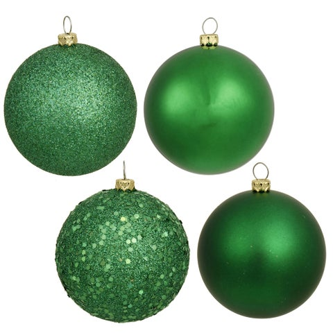 Christmas Green Plastic 3-inch Ball Ornaments with Assorted Finishes (Pack of 32)