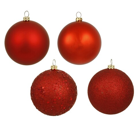 Christmas Red 3-inch 4-Finish Assorted Ornaments (Pack of 32)