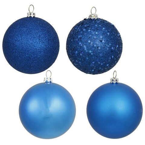 3-inch Blue 4 Finish Assorted Ornaments (Case of 32)