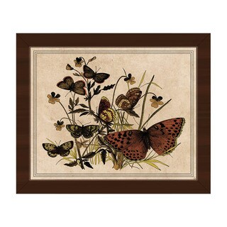 Butterfly and Clovers' Framed Canvas Wall Art