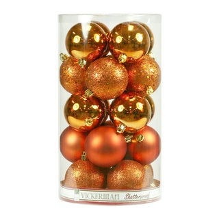 Burnished-orange 2.4-inch Assorted Ornaments with 4 Finishes (Case of 60)