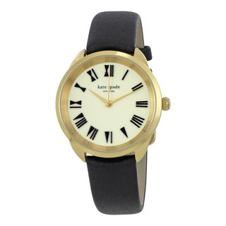 Kate Spade Women's KSW1093 'Crosstown' Bow Roman Font Black Leather Watch