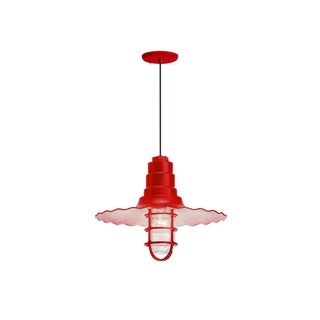 Troy RLM Lighting Radial Wave Red Wire Guard Pendant, 18 inch Shade