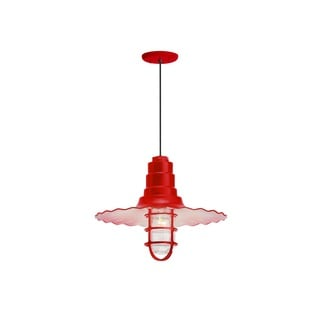 Troy RLM Lighting Radial Wave Red Wire Guard Pendant, 16 inch Shade