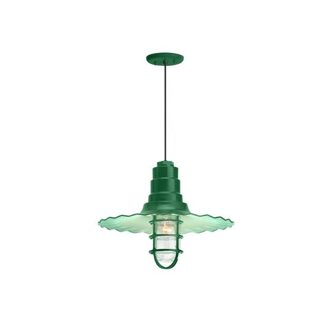Troy RLM Lighting Radial Wave Hunter Green Wire Guard Pendant, 16 inch Shade