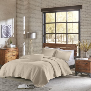 INK+IVY Shelby Natural Cotton Jersey Heathered Coverlet Set