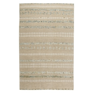 Genevieve Gorder Scandinavian Stripe Rectangle Hand Knotted Rugs Beige Smoke (9' x 12')