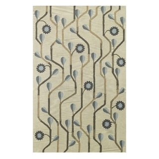 Kevin O'Brien Blue Bell Twining Rectangle Hand Tufted Rugs Blue (9' x 12')