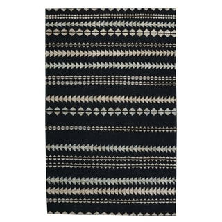 Genevieve Gorder Scandinavian Stripe Rectangle Hand Knotted Rugs Ebony Beige (9' x 12')