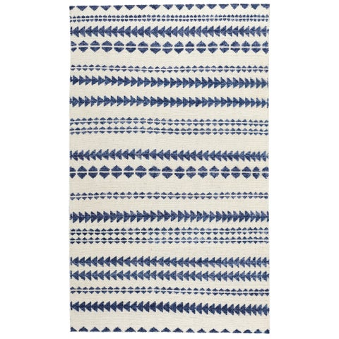 Genevieve Gorder Scandinavian Stripe Rectangle Hand Knotted Rugs Natural Blue - 9' x 12'