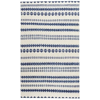 Genevieve Gorder Scandinavian Stripe Rectangle Hand Knotted Rugs Natural Blue (9' x 12')