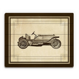 Vintage Race Car Birchwood Wall Art