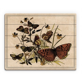 'Butterfly and Clovers Drawing' Wood Wall Art