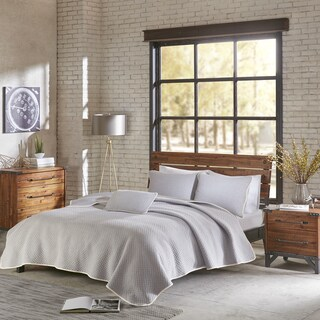 INK+IVY Shelby Grey Cotton Jersey Heathered Coverlet Set