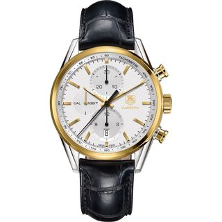 Tag Heuer Men's CAR2150.FC6266 'Carrera' 18kt Yellow Gold Chronograph Automatic Black Leather Watch