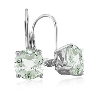 Sterling Silver 5 Carat Green Amethyst Leverback Earrings