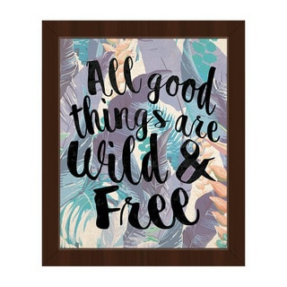 'Wild And Free' Blue Framed Canvas Wall Art