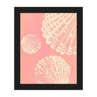 'Clamshell Trio' Pink Framed Canvas Wall Art