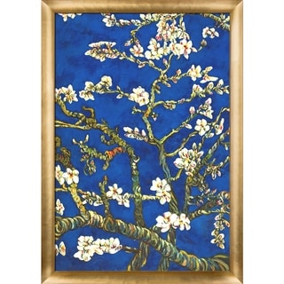 Vincent Van Gogh 'Branches Of An Almond Tree In Blossom, Sapphire Blue' Hand Painted Framed Canvas Art