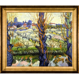 Vincent Van Gogh 'Orchard in Bloom with Poplars' Hand Painted Framed Canvas Art