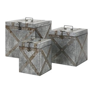 Parry Galvanized Trunks (Set of 3)