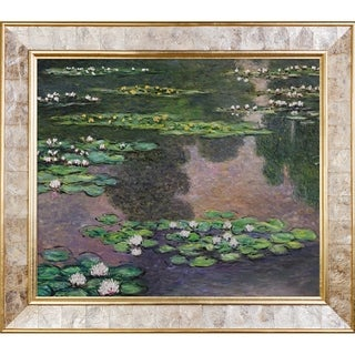 Claude Monet 'Water Lilies, Green and Violet (Luxury Line)' Hand Painted Framed Canvas Art