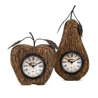 Apple and Pear Desk Clocks (Set of 2)