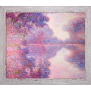 Claude Monet 'Misty Morning on the Seine (pink)' Hand Painted Framed Canvas Art