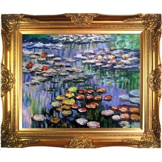 Claude Monet 'Water Lilies (pink)' Hand Painted Framed Canvas Art