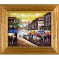 Evening's Delight In Paris' Hand Painted Framed Canvas Art