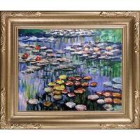 Claude Monet 'Water Lilies (pink)' Hand Painted Framed Canvas Art