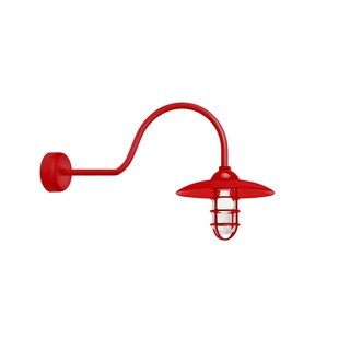 Troy RLM Lighting Retro Industrial Red 30 inch Arm Dome Wire Guard Wall Sconce