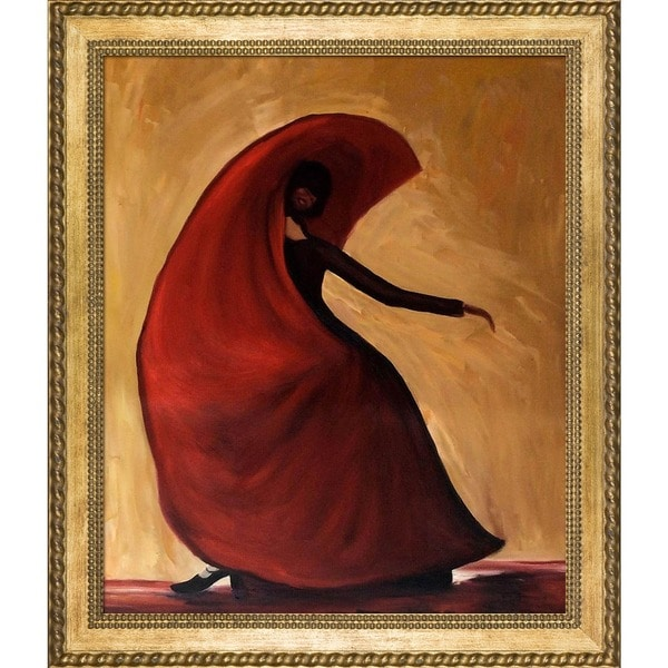 Justyna Kopania 'Flamenco' Hand Painted Framed Canvas Art