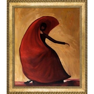Justyna Kopania 'Flamenco' Hand Painted Framed Canvas Art