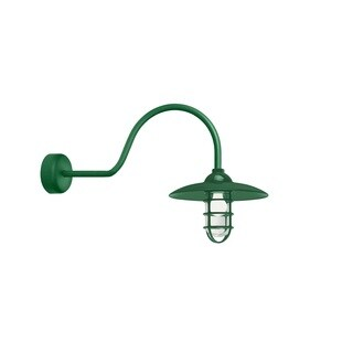 Troy RLM Lighting Retro Industrial Hunter Green 30 inch Arm Dome Wire Guard Wall Sconce
