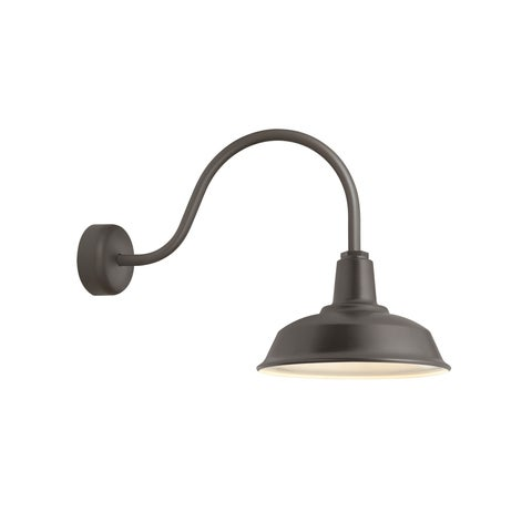 Troy RLM Lighting Heavy Duty Textured Bronze 23 inch Arm Wall Sconce, 16 inch Shade