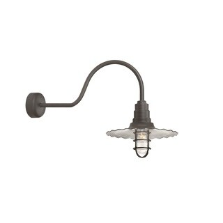 Troy RLM Lighting Radial Wave Textured Bronze 30 inch Arm Wire Guard Wall Sconce, 16 inch Shade
