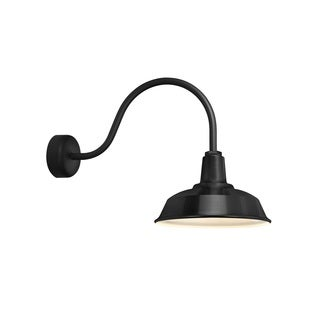 Troy RLM Lighting Heavy Duty Black 23 inch Arm Wall Sconce, 16 inch Shade