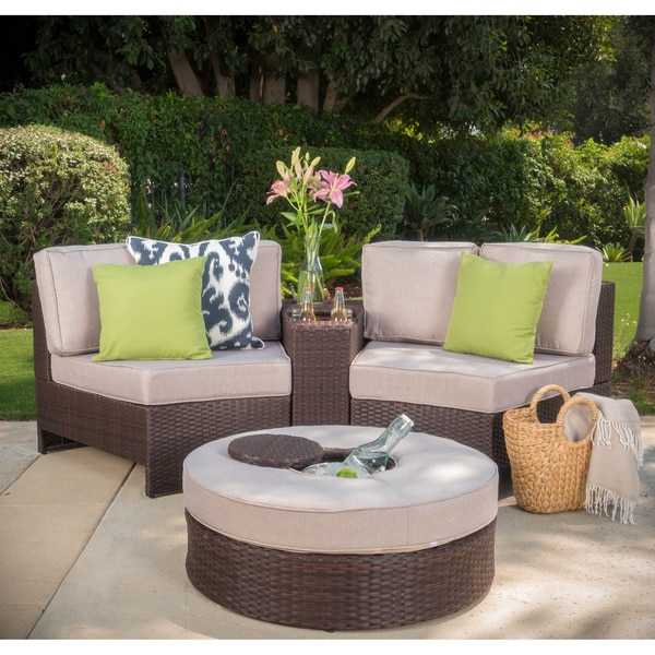52b6cbd6ac2 Shop Madras Ibiza Outdoor Wicker Sectional Set with Ottoman - On ...