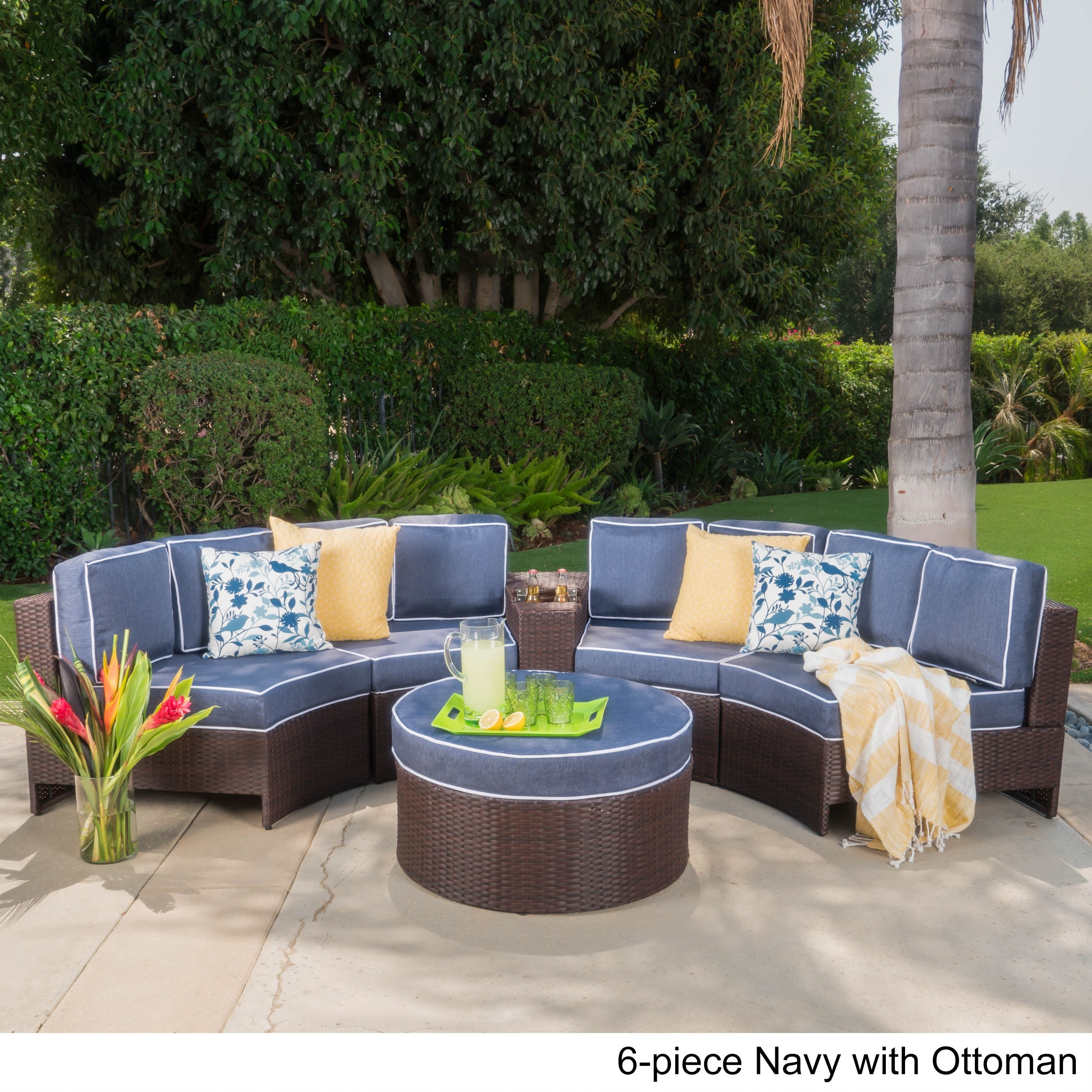 Madras Zanzibar Outdoor 12 Seater Wicker Curved Sectional Set with Ottoman  by Christopher Knight Home