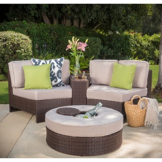 patio couch set madras ibiza outdoor wicker sectional set with ottoman by christopher knight home