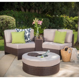 Madras Ibiza Outdoor Wicker Sectional Set with Ottoman (4 options available)