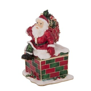 'Santa Sitting on a Chimney' Trinket Box