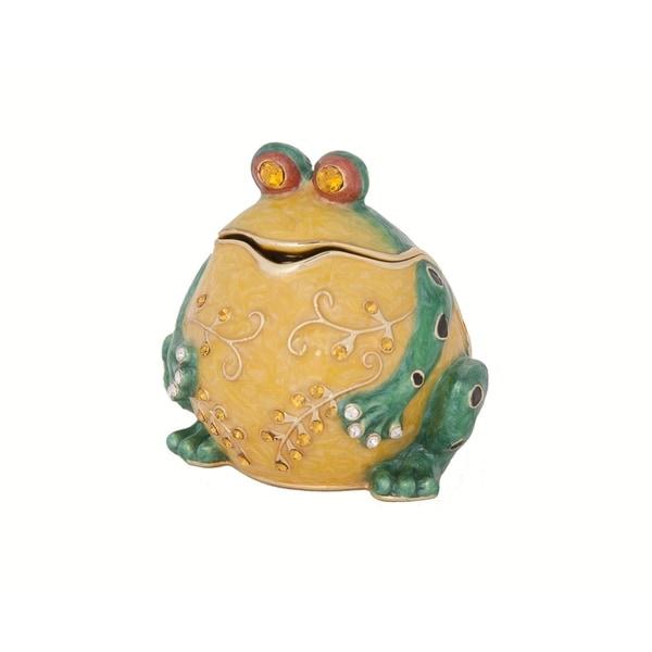 'The Bullfrog Trinket' Green/Yellow Metal/Pewter/Crystal Box