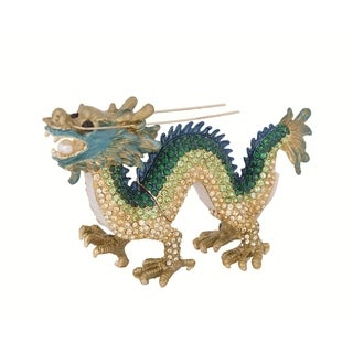 'Chinese Dragon' Multicolored Pewter/Crystal Trinket Box