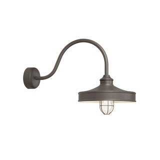 Troy RLM Lighting Nostalgia Textured Bronze 23 inch Arm Wire Guard Wall Sconce, 16 inch Shade