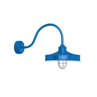 Troy RLM Lighting Nostalgia Blue 23 inch Arm Wire Guard Wall Sconce, 14 inch Shade