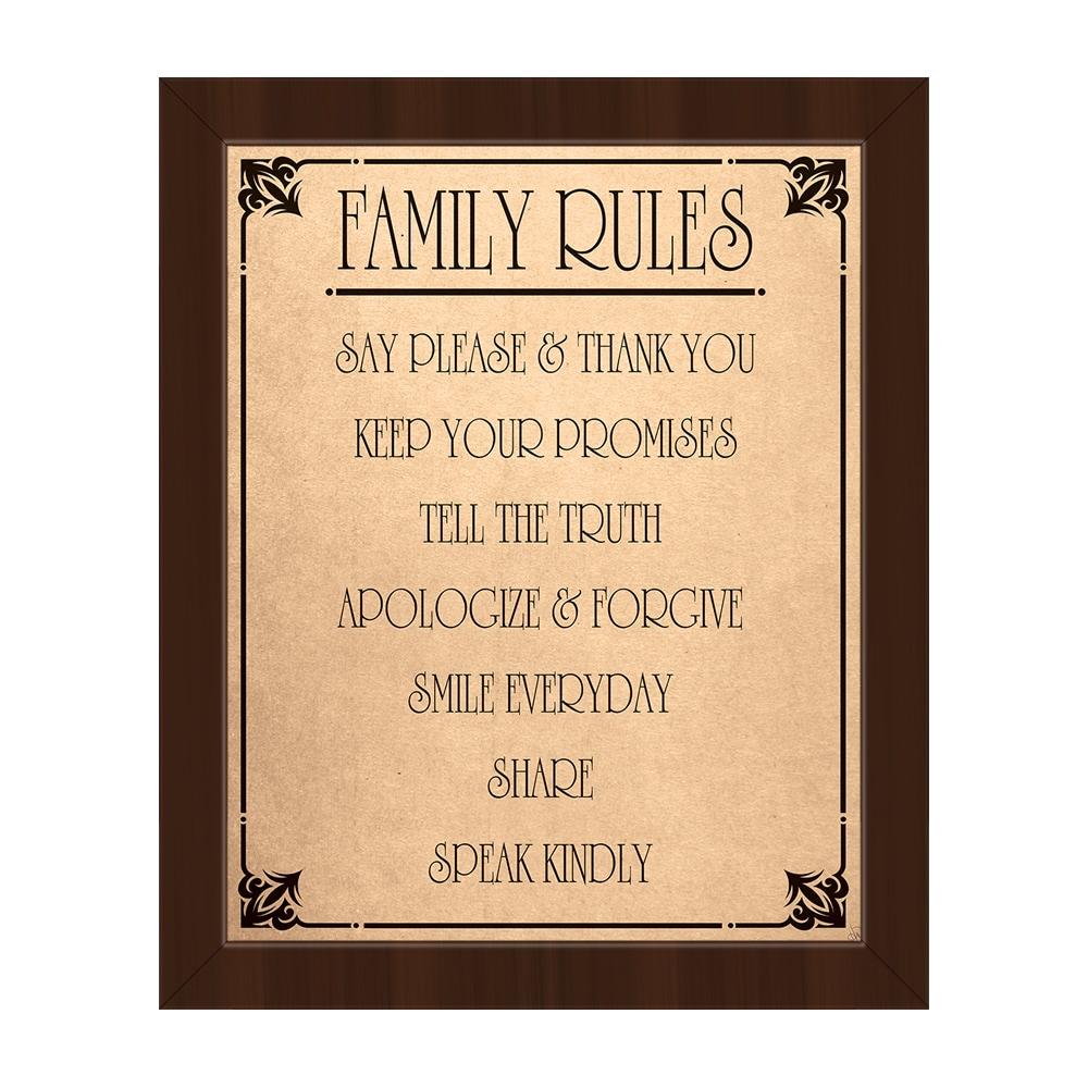 Family Rules\' Contemporary Espresso Frame Canvas Wall Art   eBay