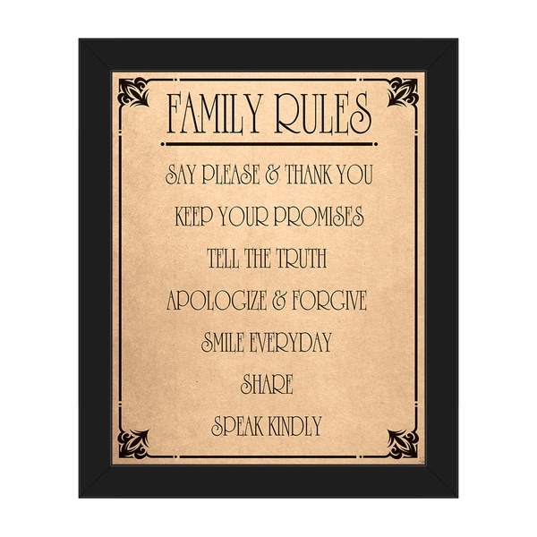 Shop \'Family Rules\' Framed Canvas Wall Art - On Sale - Free Shipping ...